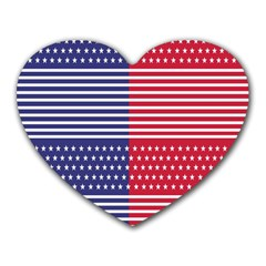 American Flag Patriot Red White Heart Mousepads by Celenk