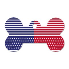 American Flag Patriot Red White Dog Tag Bone (two Sides)