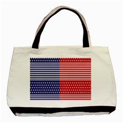 American Flag Patriot Red White Basic Tote Bag (two Sides)