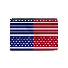 American Flag Patriot Red White Cosmetic Bag (medium)