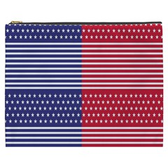 American Flag Patriot Red White Cosmetic Bag (xxxl)