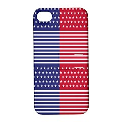 American Flag Patriot Red White Apple Iphone 4/4s Hardshell Case With Stand by Celenk