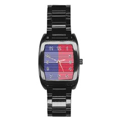 American Flag Patriot Red White Stainless Steel Barrel Watch