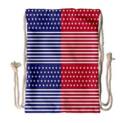 American Flag Patriot Red White Drawstring Bag (large)