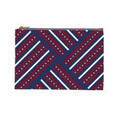 Patriotic Red White Blue Stars Cosmetic Bag (large)  by Celenk