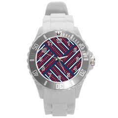 Patriotic Red White Blue Stars Round Plastic Sport Watch (l) by Celenk
