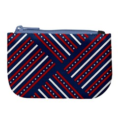 Patriotic Red White Blue Stars Large Coin Purse by Celenk