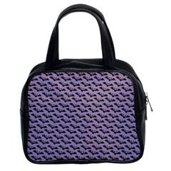 Bat Halloween Lilac Paper Pattern Classic Handbags (2 Sides) by Celenk