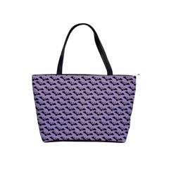 Bat Halloween Lilac Paper Pattern Shoulder Handbags by Celenk