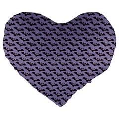 Bat Halloween Lilac Paper Pattern Large 19  Premium Heart Shape Cushions by Celenk
