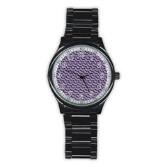 Bat Halloween Lilac Paper Pattern Stainless Steel Round Watch by Celenk