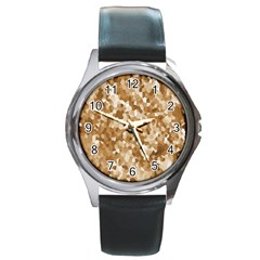Texture Background Backdrop Brown Round Metal Watch by Celenk