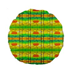Birds Beach Sun Abstract Pattern Standard 15  Premium Round Cushions by Celenk