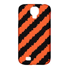 Black Orange Pattern Samsung Galaxy S4 Classic Hardshell Case (pc+silicone) by Celenk