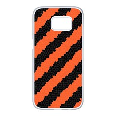 Black Orange Pattern Samsung Galaxy S7 Edge White Seamless Case