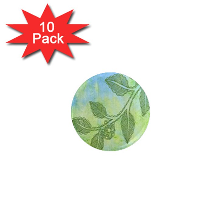 Green Leaves Background Scrapbook 1  Mini Magnet (10 pack)