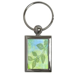 Green Leaves Background Scrapbook Key Chains (rectangle)  by Celenk