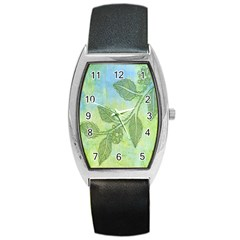 Green Leaves Background Scrapbook Barrel Style Metal Watch by Celenk