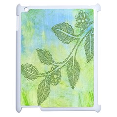 Green Leaves Background Scrapbook Apple Ipad 2 Case (white) by Celenk