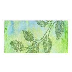 Green Leaves Background Scrapbook Satin Wrap by Celenk