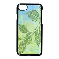 Green Leaves Background Scrapbook Apple Iphone 7 Seamless Case (black) by Celenk