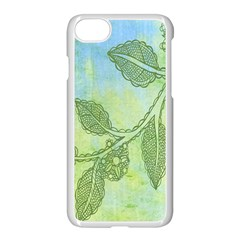 Green Leaves Background Scrapbook Apple Iphone 7 Seamless Case (white) by Celenk