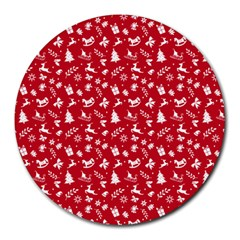 Red Christmas Pattern Round Mousepads by patternstudio