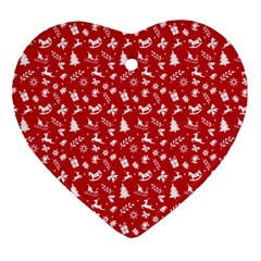 Red Christmas Pattern Ornament (heart)