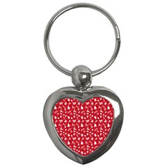 Red Christmas Pattern Key Chains (heart)  by patternstudio