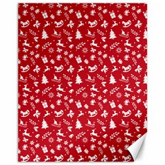 Red Christmas Pattern Canvas 11  X 14   by patternstudio