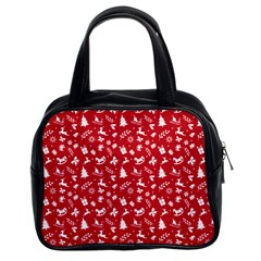Red Christmas Pattern Classic Handbags (2 Sides) by patternstudio