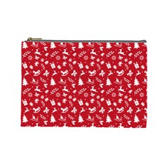 Red Christmas Pattern Cosmetic Bag (large)  by patternstudio