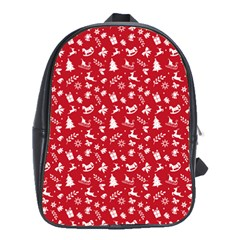 Red Christmas Pattern School Bag (large) by patternstudio