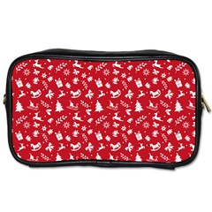 Red Christmas Pattern Toiletries Bags by patternstudio