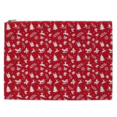 Red Christmas Pattern Cosmetic Bag (xxl)  by patternstudio