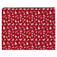 Red Christmas Pattern Cosmetic Bag (xxxl)  by patternstudio