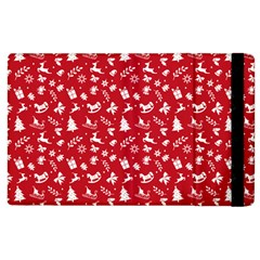 Red Christmas Pattern Apple Ipad 2 Flip Case by patternstudio