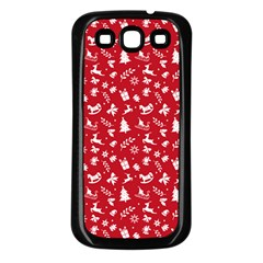 Red Christmas Pattern Samsung Galaxy S3 Back Case (black) by patternstudio