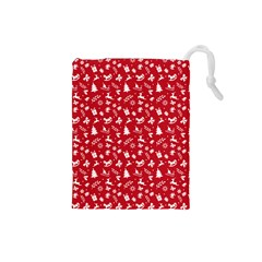 Red Christmas Pattern Drawstring Pouches (small)  by patternstudio