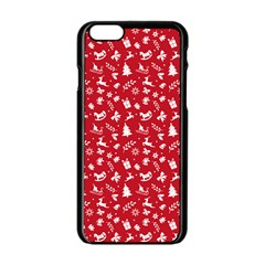 Red Christmas Pattern Apple Iphone 6/6s Black Enamel Case