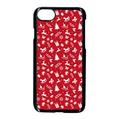 Red Christmas Pattern Apple Iphone 7 Seamless Case (black) by patternstudio