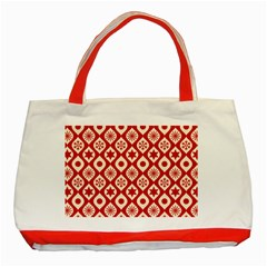 Ornate Christmas Decor Pattern Classic Tote Bag (red)