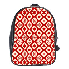 Ornate Christmas Decor Pattern School Bag (large) by patternstudio