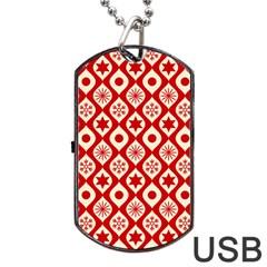 Ornate Christmas Decor Pattern Dog Tag Usb Flash (one Side) by patternstudio