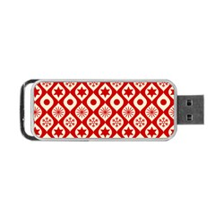 Ornate Christmas Decor Pattern Portable Usb Flash (one Side) by patternstudio