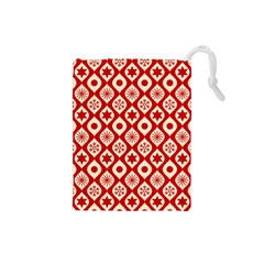 Ornate Christmas Decor Pattern Drawstring Pouches (small)  by patternstudio