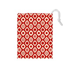 Ornate Christmas Decor Pattern Drawstring Pouches (medium)  by patternstudio