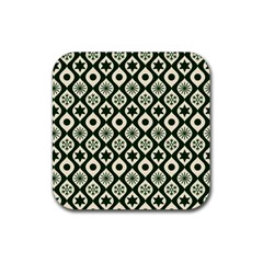 Green Ornate Christmas Pattern Rubber Coaster (square)