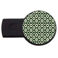 Green Ornate Christmas Pattern Usb Flash Drive Round (2 Gb) by patternstudio