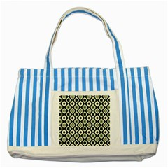Green Ornate Christmas Pattern Striped Blue Tote Bag by patternstudio